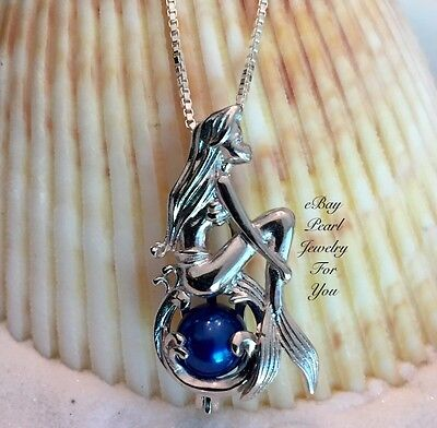 Shy Mermaid Pearl Cage Pendant Necklace Sterling Silver Wish Akoya Oyster