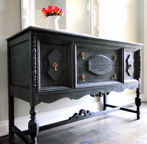 Gorgeous antique charcoal sideboard- Refinished!!