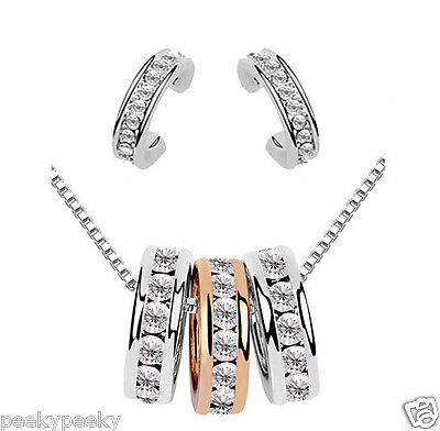 Sterling Silver Plated Crystal Necklace Pendant Earrings Jewelry Set Charm Gift
