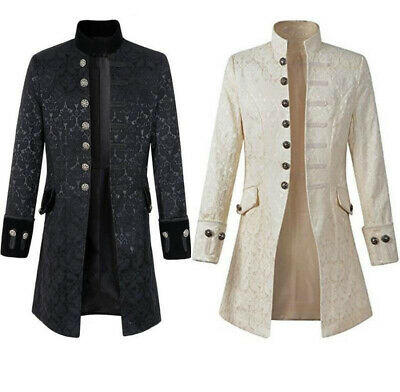Steampunk Medieval Renaissance Men Long Sleeve Coat Jacket Retro Uniform Costume](Gothic Coats Mens)