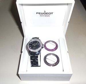 PEUGEOT WOMEN'S SWISS QUARTZ SWAROVSKI CRYSTAL ANALOG WATCH