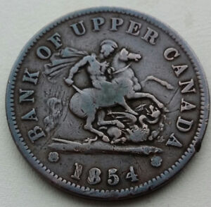 Bank of Upper Canada one penny 1854 coin / token