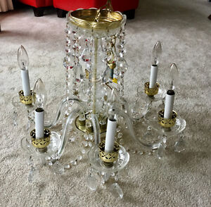 Brass and Crystal Chandalier