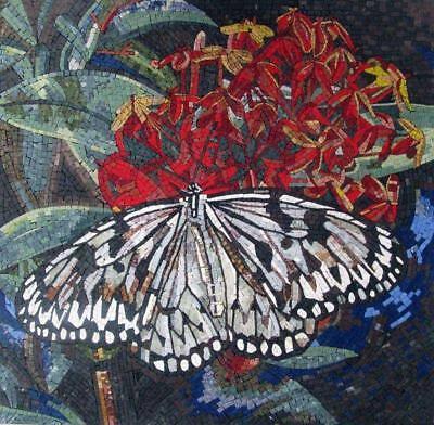 Mosaic Wall Art - Butterfly Flower Mosaic Backsplash Mosaic Art ()