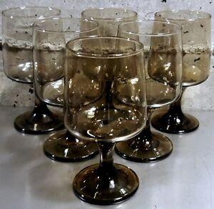 Vintage Libbey Brown Smoked-Glass Stemware (1970's)