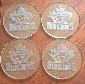 Toronto Blue Jays Etched Glass Coaster Set