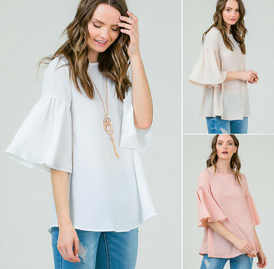 Chic Ruffle Bell Sleeve Flowy Loose Blouse Shirt Top Solid Colors Plain Basic ()