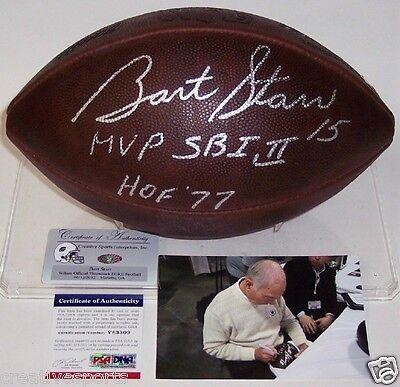 Hand Signed Official Nfl Football (BART STARR PACKERS HAND SIGNED OFFICIAL NFL DUKE FOOTBALL SB I,II MVP HOF 77)