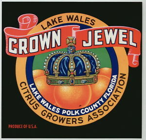 CROWN-JEWEL-Vintage-Florida-Citrus-Crate-Label-Royalty-King-AN-ORIGINAL-LABEL