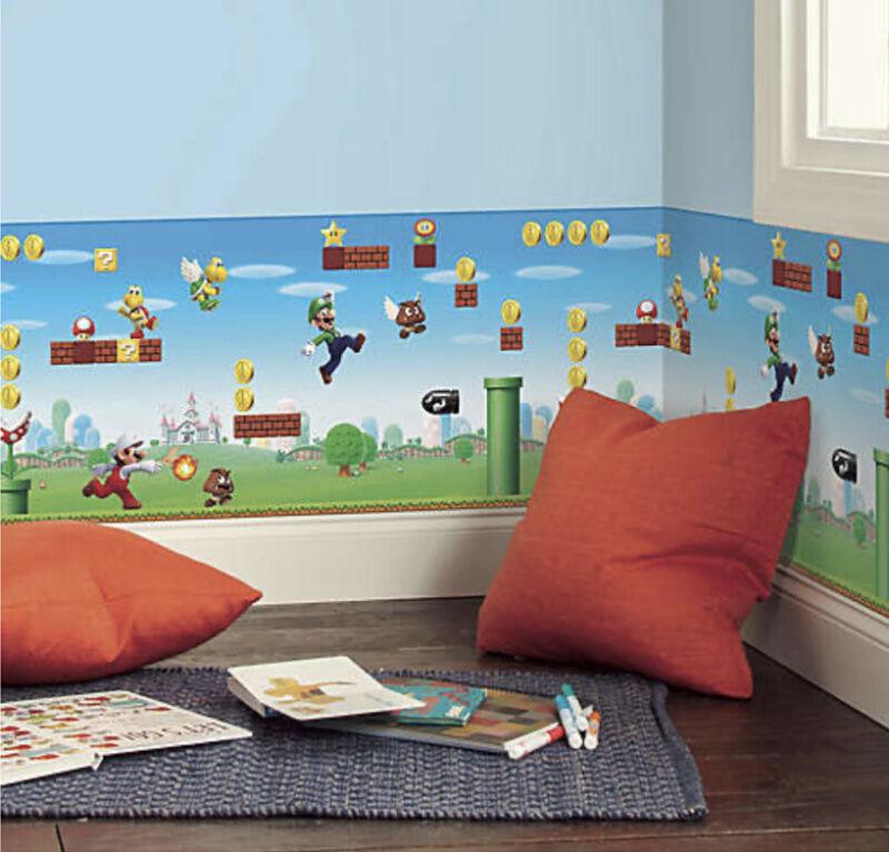 RoomMates Super Mario Scene Peel & Stick Wallpaper Border