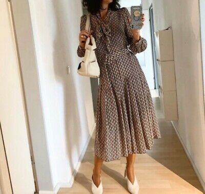 NWT Zara AW19 Midi Printed Dress W/Pleated Skirt & Belt-Sold Out!
