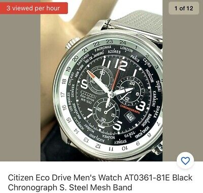 Citizen Eco Drive Men's Watch AT0361-81E Black Chronograph S. Steel Mesh Band
