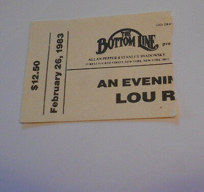 LOU REED/ N.Y.C.BOTTOM LINE TICKET STUB-2/26/1983
