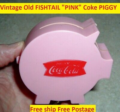 Vintage Coca Cola Soda Pop Coke Fishtail 1960's Celluloid Coin Bank Free Ship
