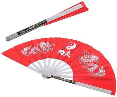 "13 1/2"" X 26"" Stainless Steel Chinese Tai chi Kung Fu Fighting Fan Wushu Weapon"