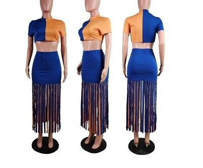 Women Crop Tops +Tassel Skirts Sexy Two Piece Set Club Beach Party Outfits #SC Two Piece Skirt