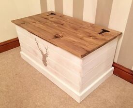 NEW-Hand Made Shabby Chic Pine Ottoman / Blanket Box With Stag Stencil***£79***FREE DELIVERY