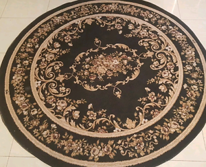 Classic french traditional rug. 150cm black gold floral Revesby Bankstown Area Preview
