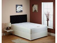 "*Premium Quality Bed And Mattress*Double/Small Double Divan Bed w 9"" Thick Deep Quilt Mattress"