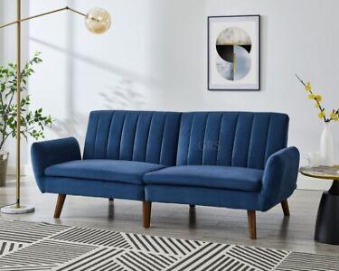 Velvet Fabric Sofa Bed Split Back 3 Seater Grey Blue Black Luxury Velvet Sofabed