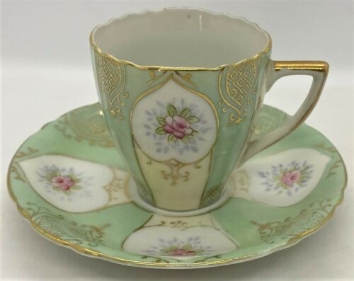 Vintage Ucagco Mint Green Demitasse Cup & Saucer, Occupied Japan, Pink Flowers