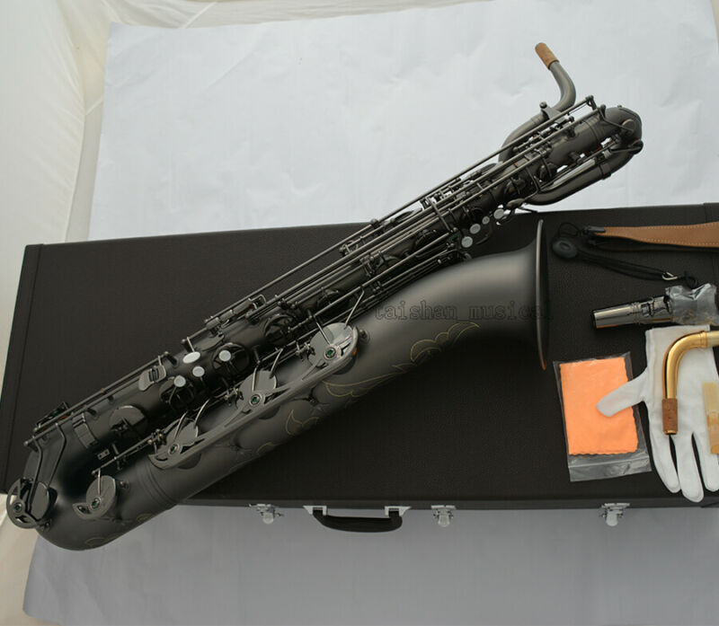Prof Matt Black nickel Baritone Saxophone Bari Sax Low A With Case