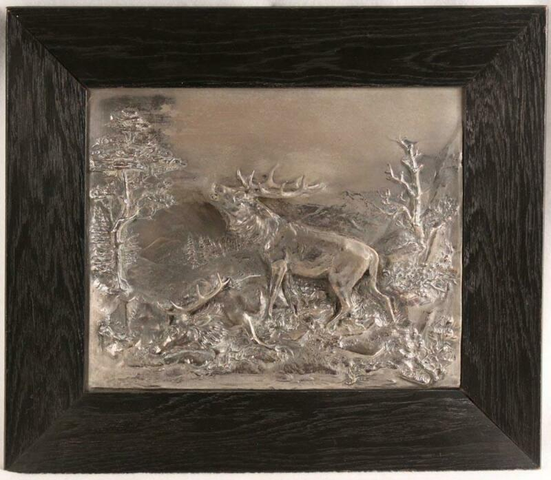 Antique Silver Plated WMF Relief Plaque of 2 Stags in Battle by Fritz Diller