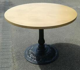 3 X WROUGHT IRON BASED TABLE VERY HEAVY LOVELY CONDITION £50 EACH