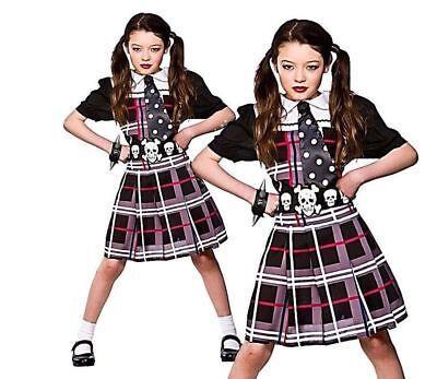 Freaky Schoolgirl Kids Girls Halloween Scary Punk Fancy Dress Costume Age