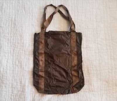 NEW J CREW PACKABLE RIPSTOP NYLON GROCERY TOTE BAG OLIVE G0241