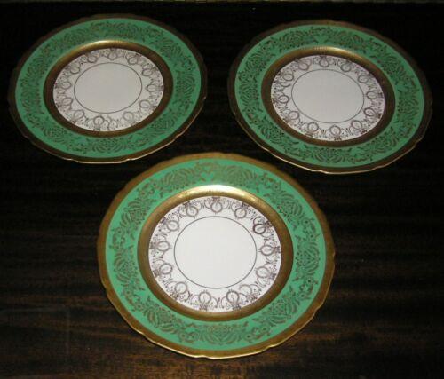 Set of 3 Edgarton Bavaria Green & Gold Encrusted Dinner Plates E62-11