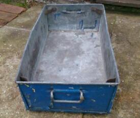 Galvanised metal storage tray, with handles.