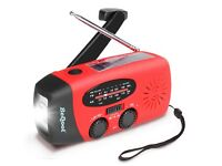 5 in 1 Multi Solar Radio & Weather - LED Flashlight - USB Phone Charger iPhone & More - Brand New