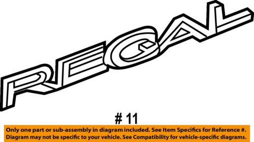 Buick GM OEM 11-17 Regal Trunk Lid-Emblem Badge Nameplate 22740596