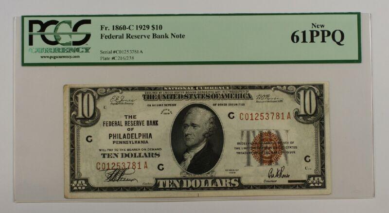 1929 $10 Ten Dollar Philadelphia FRBN Note PCGS New 61 PPQ Fr. 1860-C