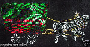 GYPSY-CARAVAN-WAGON-HORSE-iron-on-RHINESTONE-DIAMANTE-GEM-BLING-TRANSFER-PATCH