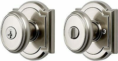 Baldwin Prestige Carnaby Keyed Entry Door Lock Knob SmartKey in Satin Nickel