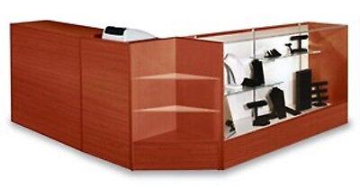 Combo Cashier Pos Showcase Counter Register Stand- Walnut