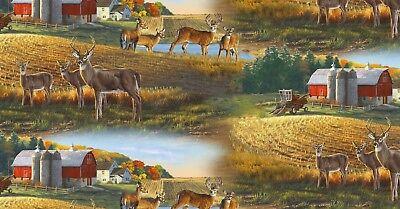 Whitetail Deer Fabric - Barn & Farm Field Scene 8901 - Elizabeth