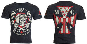 $40 Archaic AFFLICTION Customs FUEL INJECTOR Skull Biker AMERICAN T-SHIRT MEN XL