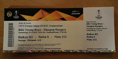 COLLECTORS TICKET PERFECT COND YOUNG BOYS BERN - GLASGOW RANGERS FC  EL 2019/20