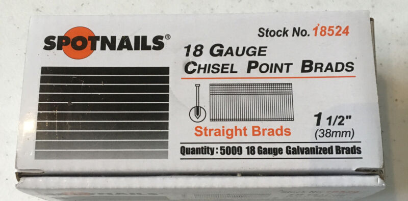 "SPOT NAILS #18524 18 Gauge Galvanized 1 1/2"" Brad Nails (5000 Box)"