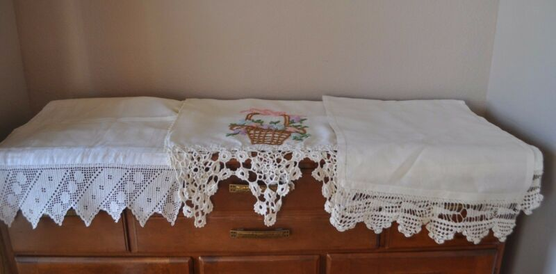 3 ANTIQUE LARGE TABLE RUNNERS SCARF DEEP FANCY CROCHET TRIM