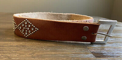 "ABERCROMBIE Women's Brown LEATHER BELT Size Small 34"" Studded & Rhinestone"
