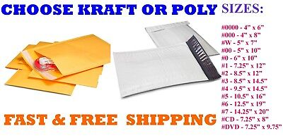 Kraft Or Poly Bubble Padded Envelope Mailers 000 00 0 Cd 1 2 3 4 5 6 7 Mailing