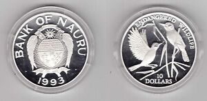 NAURU-SILVER-PROOF-10-COIN-1993-YEAR-KM-5-SONGBIRDS