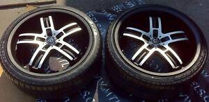 4 mags neufs 20 pouces staggered avec pneus neufs