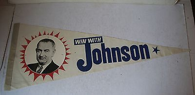 1964 WIN WITH JOHNSON CAMPAIGN PENNANT BANNER POLITICAL