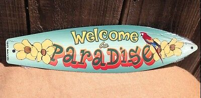 Paradise Surf Sign - Welcome To Paradise Parrot Mini Novelty Beach Surf Board Sign 17