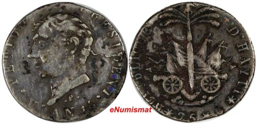 "Haiti Silver AN 14 (1817) 25 Centimes Variety: ""P"" below the Bust VERY RARE C-26"